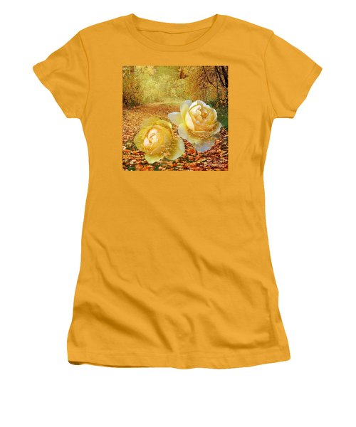 Roses In The Woods In Autumn Women's T-Shirt (Athletic Fit)