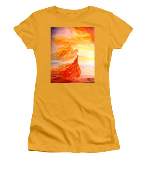 Women's T-Shirt (Junior Cut) featuring the painting Running Along The Beach by Lilia D