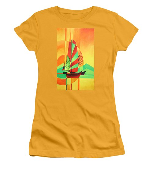 Women's T-Shirt (Junior Cut) featuring the painting Sail To Shore by Tracey Harrington-Simpson