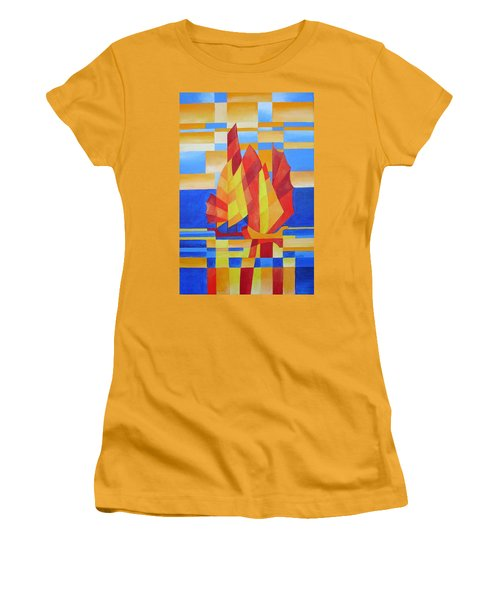 Women's T-Shirt (Junior Cut) featuring the painting Sailing On The Seven Seas So Blue by Tracey Harrington-Simpson