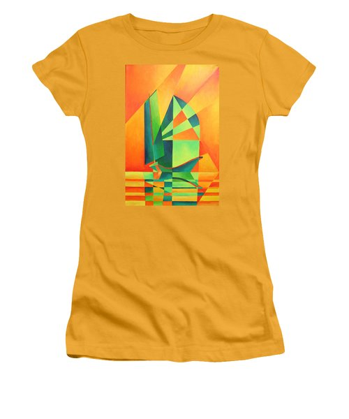Women's T-Shirt (Junior Cut) featuring the painting Sails At Sunrise by Tracey Harrington-Simpson
