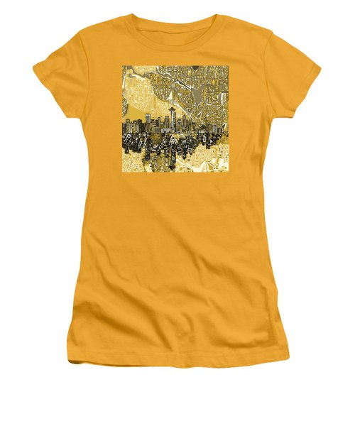 Seattle Skyline Abstract 2 Women's T-Shirt (Athletic Fit)