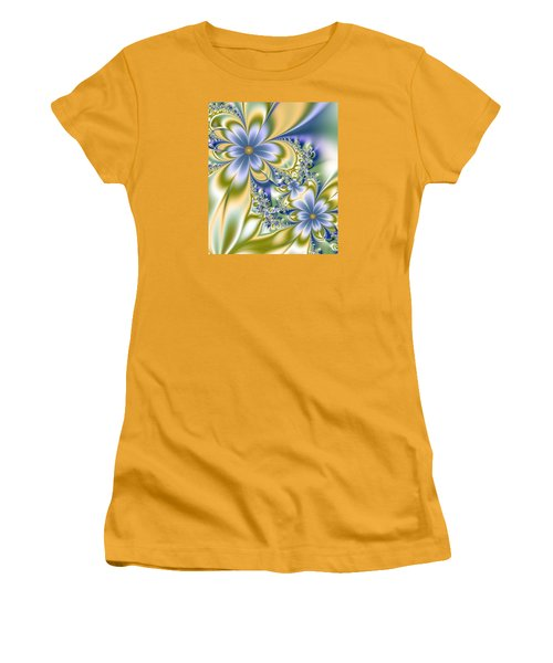Women's T-Shirt (Junior Cut) featuring the digital art Silky Flowers by Svetlana Nikolova