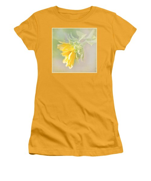 Women's T-Shirt (Junior Cut) featuring the photograph Soft Yellow Sunflower Just Starting To Bloom by Patti Deters
