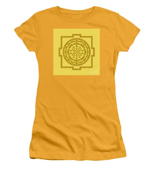 Sri Yantra In Gold Women's T-Shirt (Junior Cut) by Olga Hamilton