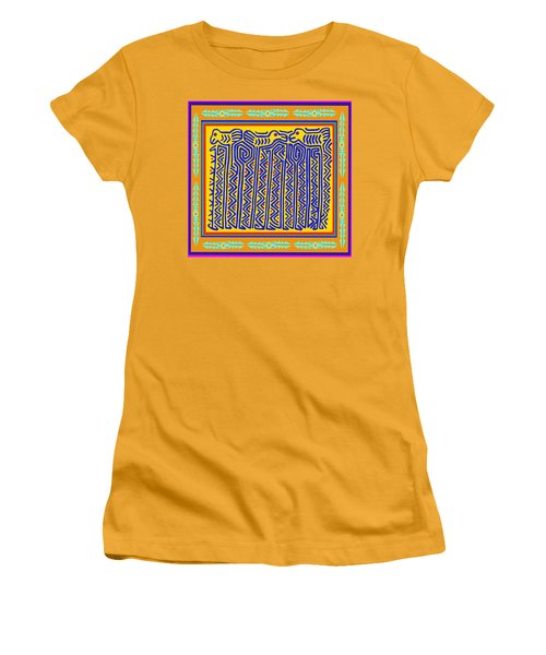 Women's T-Shirt (Junior Cut) featuring the digital art Storks by Vagabond Folk Art - Virginia Vivier