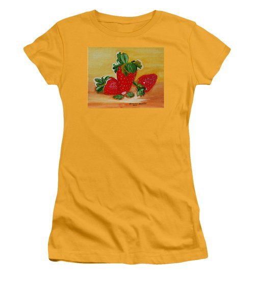 Women's T-Shirt (Junior Cut) featuring the painting Strawberry Delight by Johanna Bruwer