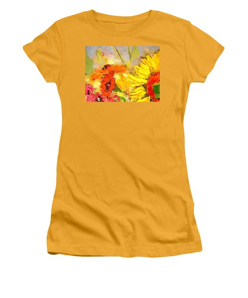 Women's T-Shirt (Junior Cut) featuring the painting Sunflower Detail by Ana Maria Edulescu