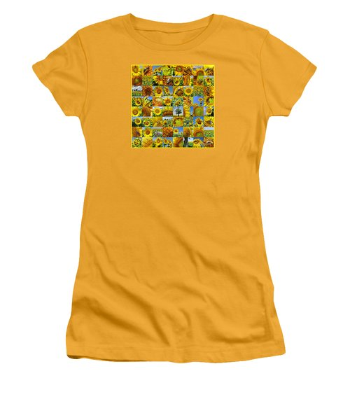 Sunflower Field Collage In Yellow Women's T-Shirt (Athletic Fit)