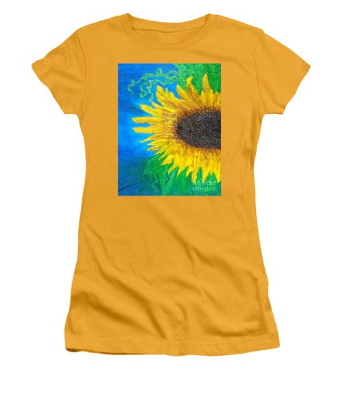 Women's T-Shirt (Junior Cut) featuring the painting Sunflower by Holly Martinson