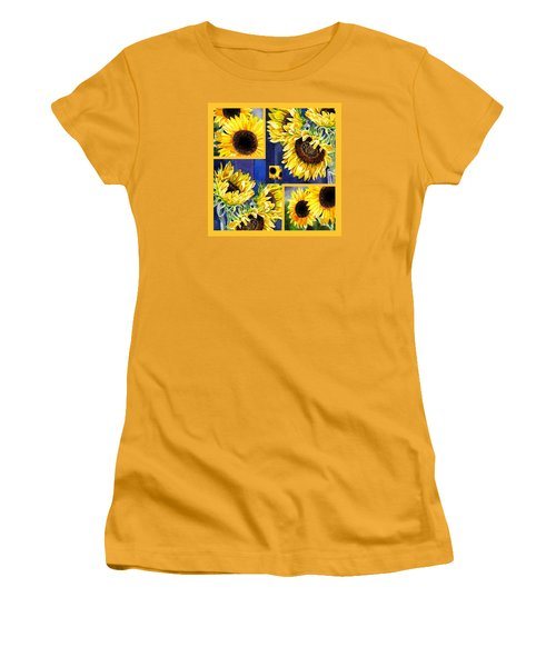 Women's T-Shirt (Junior Cut) featuring the painting Sunflowers Sunny Collage by Irina Sztukowski