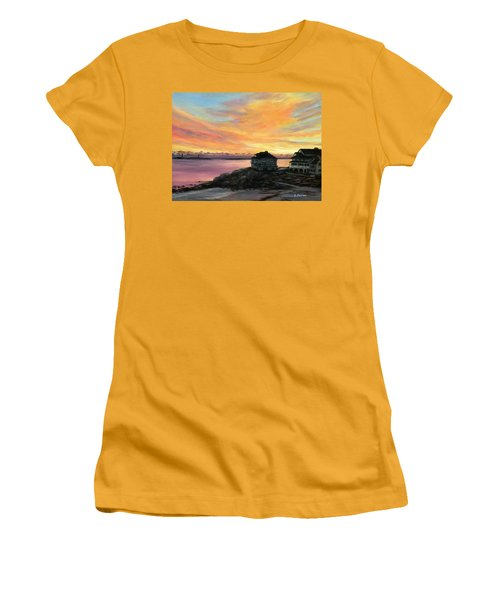 Sunrise Long Beach Rockport Ma Women's T-Shirt (Junior Cut) by Eileen Patten Oliver