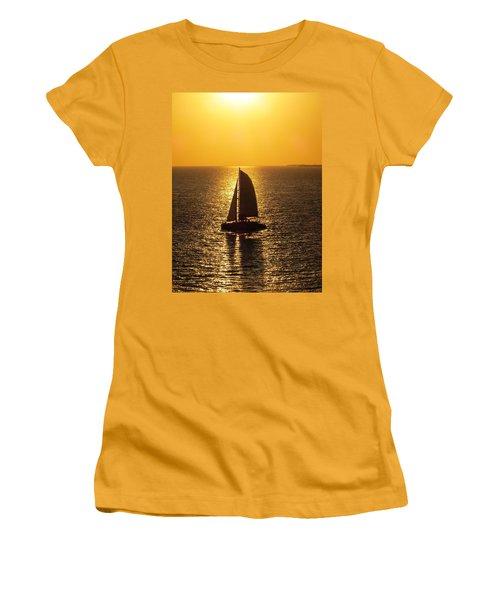 Women's T-Shirt (Junior Cut) featuring the photograph Sunset Sail by Jennifer Wheatley Wolf