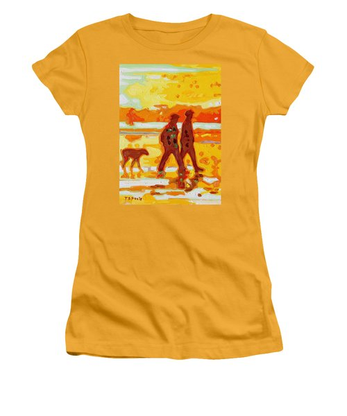 Sunset Silhouette Carmel Beach With Dog Women's T-Shirt (Junior Cut) by Thomas Bertram POOLE