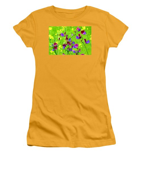 Women's T-Shirt (Junior Cut) featuring the photograph Sweet Peas by Byron Varvarigos