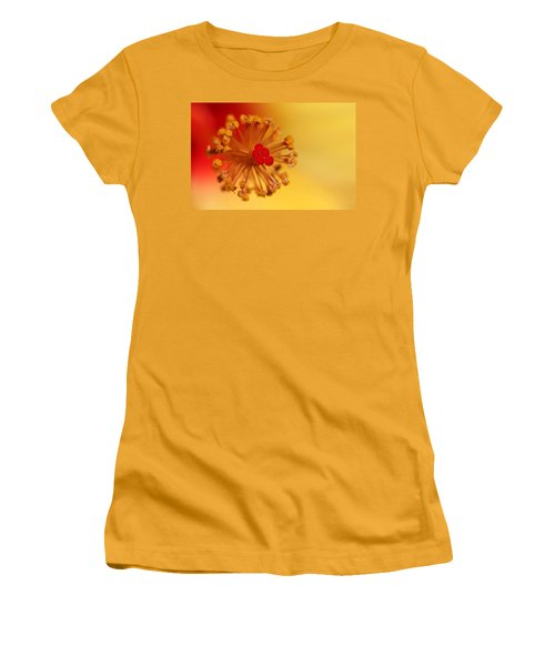 Women's T-Shirt (Junior Cut) featuring the photograph The Center Of The Hibiscus Flower by Debbie Oppermann