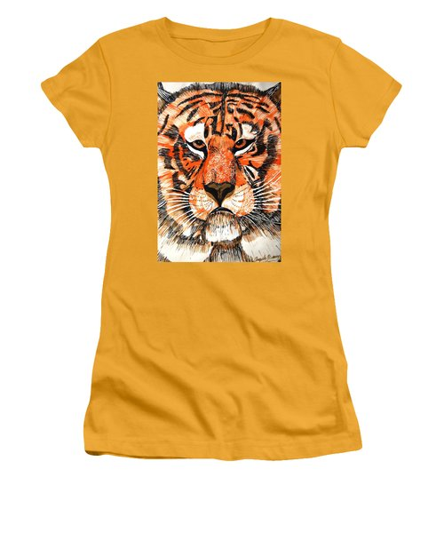 Tiger Women's T-Shirt (Junior Cut) by Angela Murray