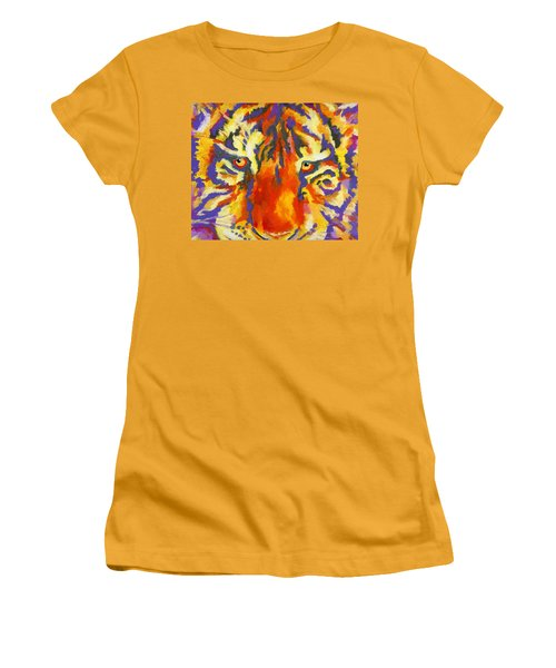 Women's T-Shirt (Junior Cut) featuring the painting Tiger Eyes by Stephen Anderson