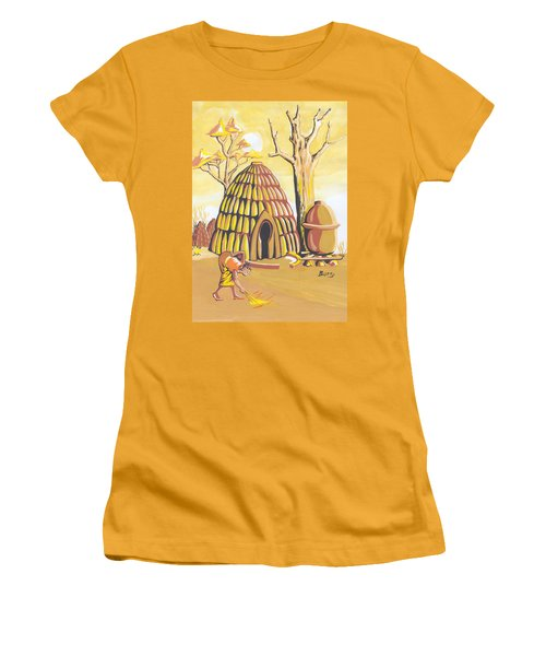 Women's T-Shirt (Junior Cut) featuring the painting Traditional House Massa Northern Cameroon by Emmanuel Baliyanga