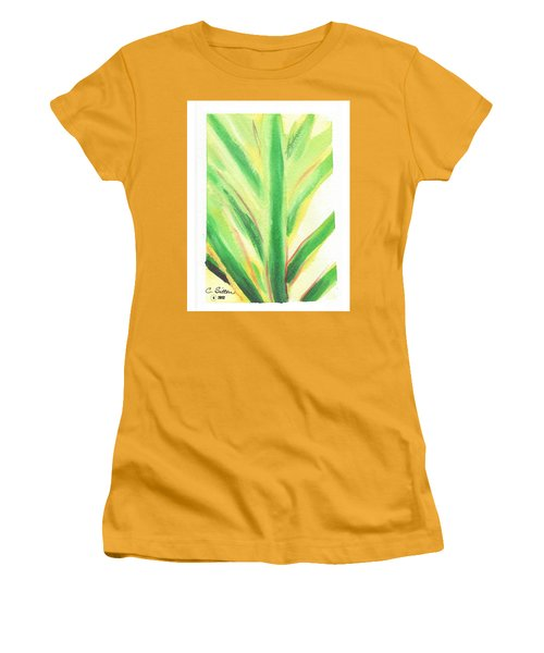 Women's T-Shirt (Junior Cut) featuring the painting Tropical Leaf by C Sitton
