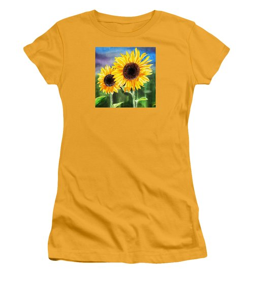 Women's T-Shirt (Athletic Fit) featuring the painting Two Sunflowers by Irina Sztukowski