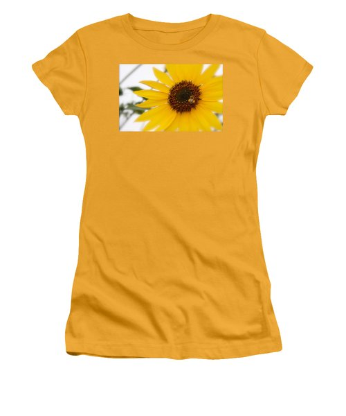 Women's T-Shirt (Junior Cut) featuring the photograph Vivid Sunflower With Bee Fine Art Nature Photography  by Jerry Cowart