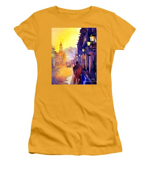 Watercolor Painting Of Street And Church Morelia Mexico Women's T-Shirt (Athletic Fit)