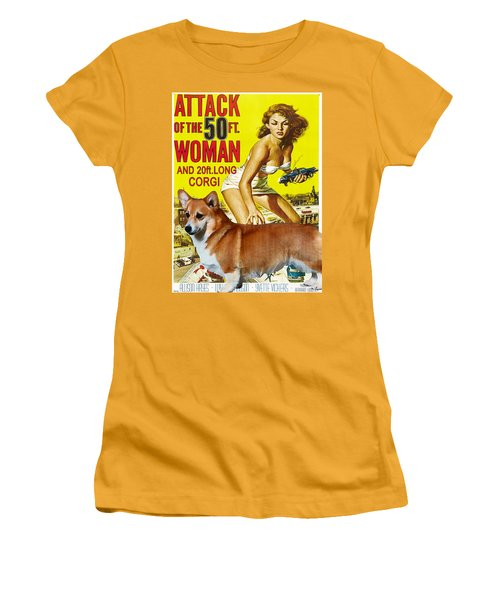 Welsh Corgi Pembroke Art Canvas Print - Attack Of The 50ft Woman Movie Poster Women's T-Shirt (Athletic Fit)