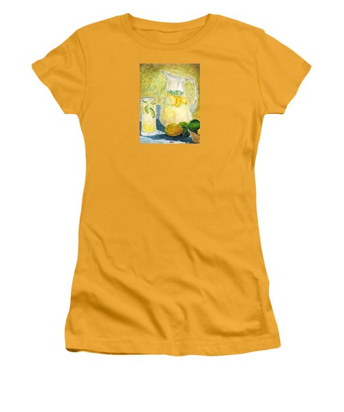 Women's T-Shirt (Junior Cut) featuring the painting When Life Gives You Lemons by Angela Davies