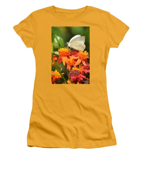 White Butterfly On Mexican Flame Women's T-Shirt (Junior Cut) by Debra Martz