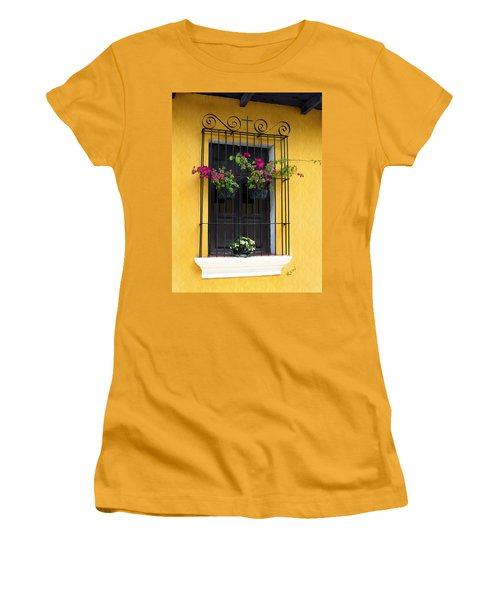 Window At Old Antigua Guatemala Women's T-Shirt (Junior Cut) by Kurt Van Wagner