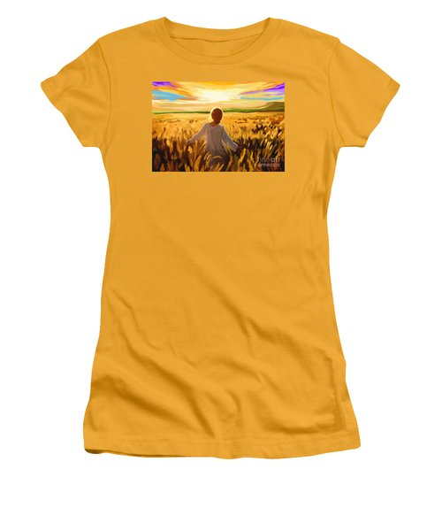 Woman In A Wheat Field Women's T-Shirt (Athletic Fit)