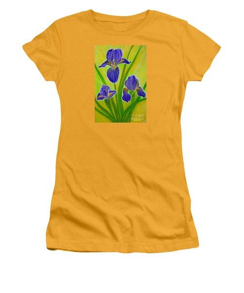 Wonderful Iris Flowers 3 Women's T-Shirt (Junior Cut) by Oksana Semenchenko
