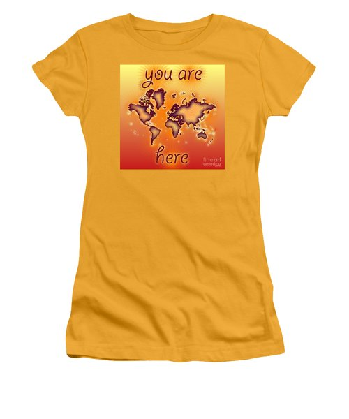 World Map You Are Here Amuza In Red Yellow And Orange Women's T-Shirt (Junior Cut) by Eleven Corners
