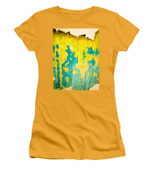 Women's T-Shirt (Junior Cut) featuring the photograph Yellow And Green Abstract Wall by Silvia Ganora