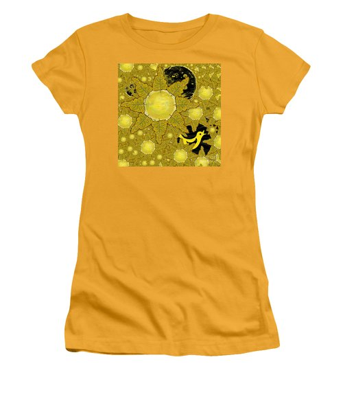 Yellow Bird Sings In The Sunflowers Women's T-Shirt (Athletic Fit)
