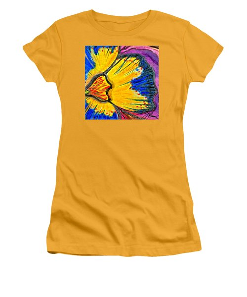 Women's T-Shirt (Junior Cut) featuring the painting Yellow Blue Flower by Joan Reese