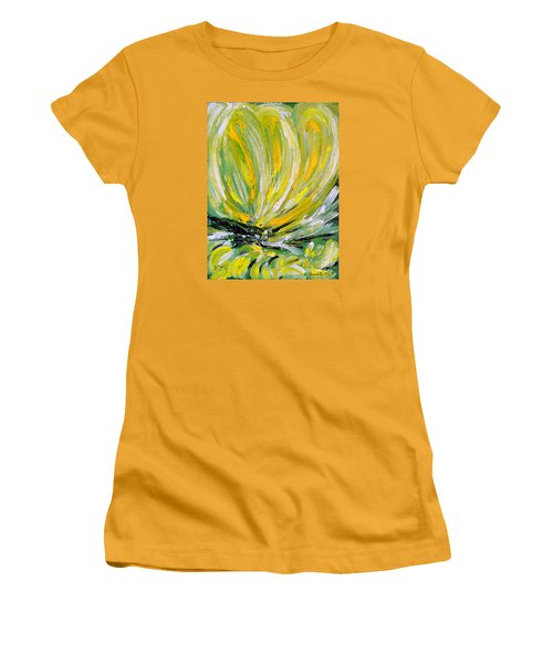 Women's T-Shirt (Junior Cut) featuring the painting Yellow Butterfly by Jasna Dragun