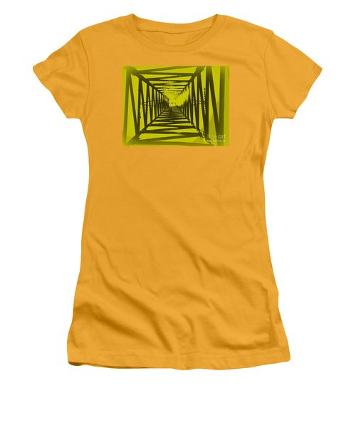 Women's T-Shirt (Junior Cut) featuring the photograph Yellow Perspective by Clare Bevan