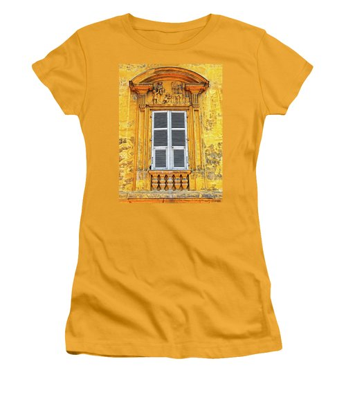 Women's T-Shirt (Junior Cut) featuring the photograph Yellow Window Nice France by Dave Mills