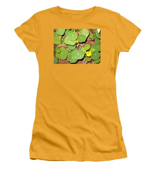 Beautiful Round Green Leaves Of A Plant With Orange Flowers Women's T-Shirt (Athletic Fit)