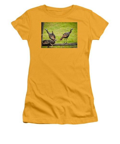 Women's T-Shirt (Junior Cut) featuring the photograph Bunch Of Turkeys by Cheryl Baxter