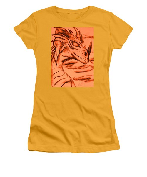 Women's T-Shirt (Junior Cut) featuring the drawing Dragon In Color by Maria Urso