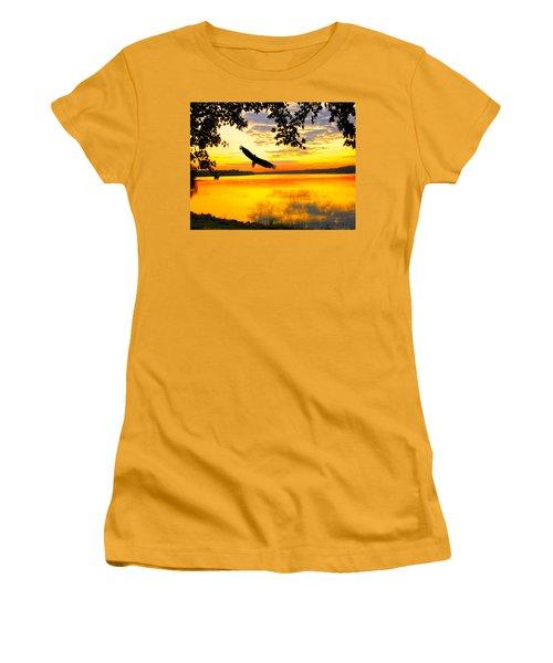 Women's T-Shirt (Junior Cut) featuring the photograph Eagle At Sunset by Randall Branham