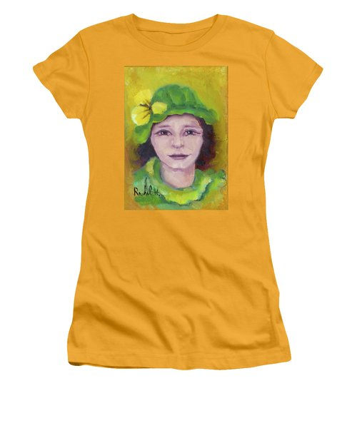 Green Hat Face Women's T-Shirt (Junior Cut) by Rachel Hershkovitz
