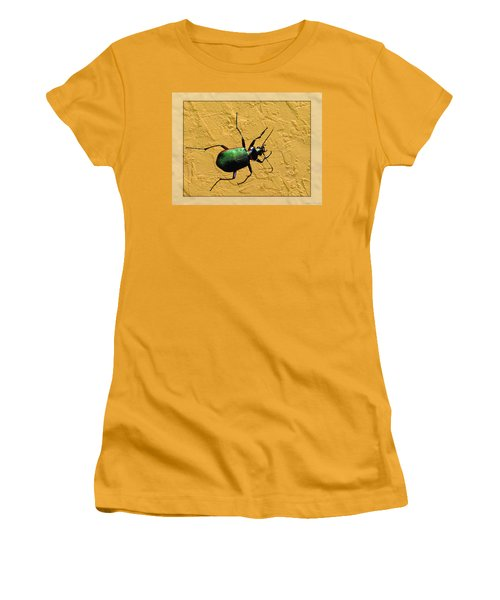 Women's T-Shirt (Junior Cut) featuring the photograph Jeweltone Beetle by Debbie Portwood