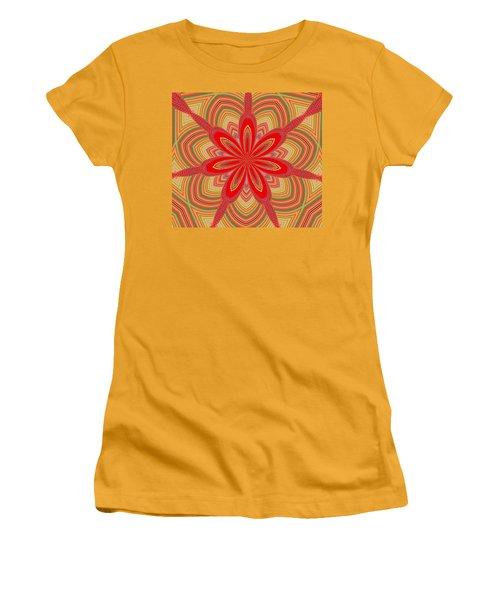 Women's T-Shirt (Junior Cut) featuring the digital art Red Star Brocade by Alec Drake