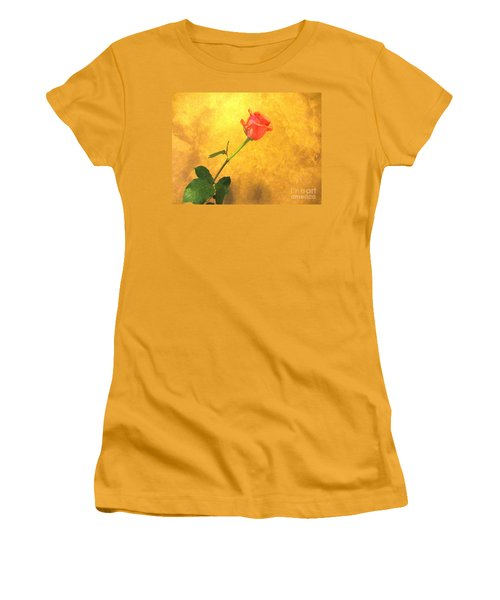 Women's T-Shirt (Junior Cut) featuring the photograph Rose On Leather by Susan Carella