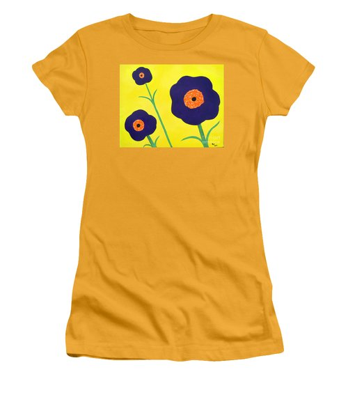 Women's T-Shirt (Junior Cut) featuring the painting Sky High Flowers by Alys Caviness-Gober