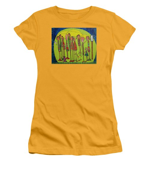 Women's T-Shirt (Junior Cut) featuring the painting The Spotted Duck by Donna Howard